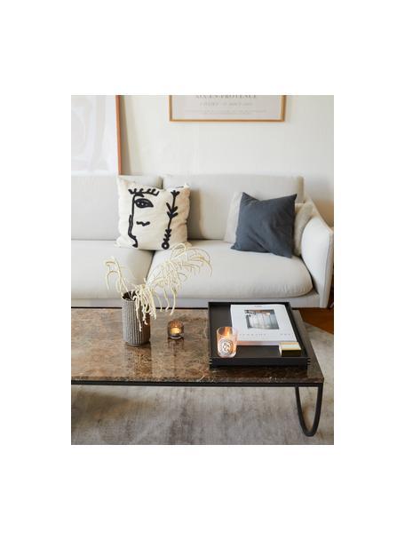 Bank Moby (3-zits) in beige met metalen poten, Bekleding: polyester, Frame: massief grenenhout, Poten: gepoedercoat metaal, Beige, B 220 x D 95 cm