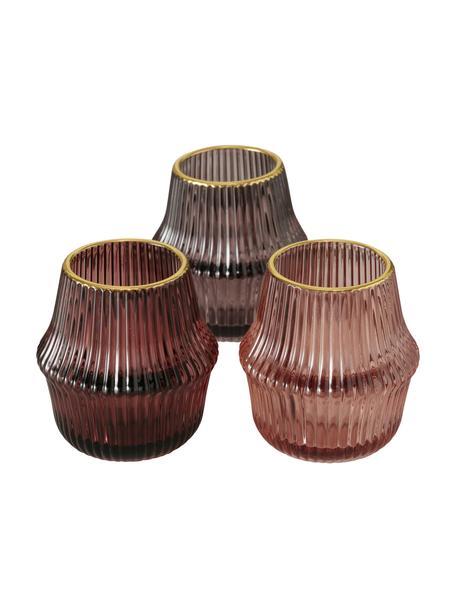 Teelichthalter-Set Maggie, 3-tlg., Glas, Rosatöne, Goldfarben, Ø 8 cm