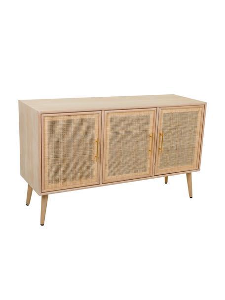 Dressoir Cayetana met deuren, Frame: gefineerd MDF, Handvatten: metaal, Poten: gelakt bamboehout, Bruin, 120 x 71 cm