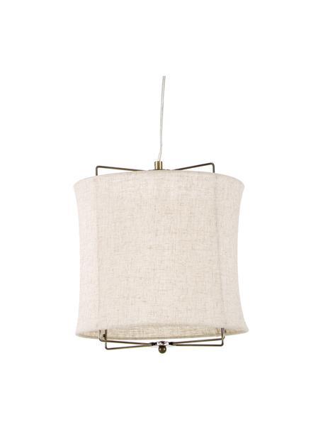 Hanglamp Clouds van linnen, Lampenkap: linnen, Baldakijn: vermessingd metaal, Taupe, Ø 30  x H 30 cm
