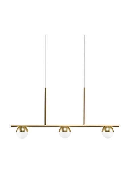 Grote hanglamp Contina met opaalglas, Lampenkap: opaalglas, Baldakijn: gecoat metaal, Wit, messingkleurig, 90 x 42 cm