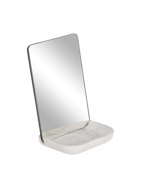 Kosmetikspiegel Sharif mit Ablagefläche aus Marmor, Sockel: Kunststoff, Spiegelfläche: Spiegelglas, Weiß, Grau, 12 x 18 cm