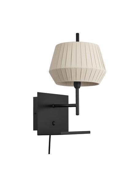 Aplique Dicte, con enchufe, estilo clásico, Pantalla: tela, Cable: plástico, Beige, negro, An 21 x Al 38 cm
