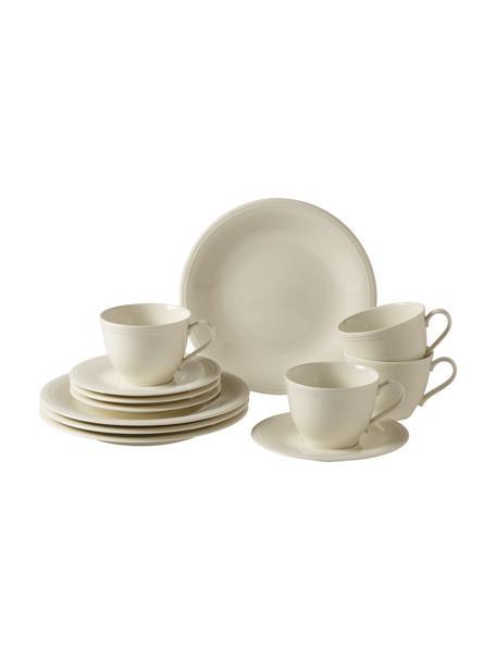 Komplet naczyń z porcelany Loop,  dla 4 osób (12 elem.), Porcelana, Beżowy, kremowobiały, Komplet z różnymi rozmiarami