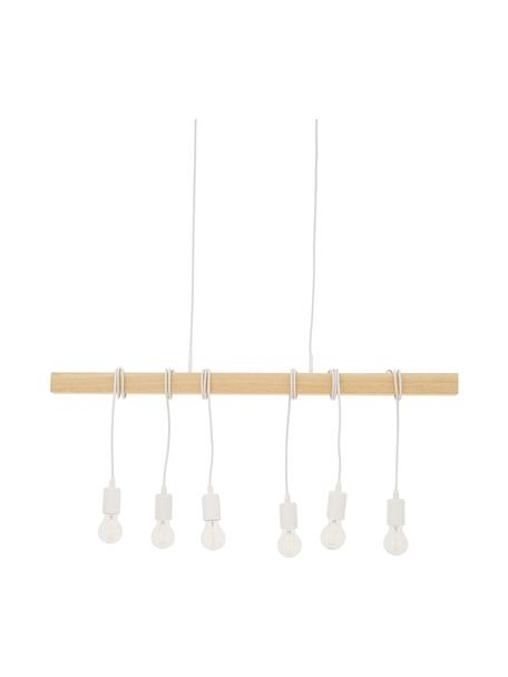 Duża lampa wisząca z drewna Townshend, Biały, drewno naturalne, S 100 x G 10 cm