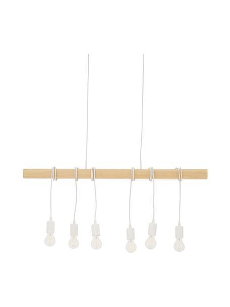 Lámpara de techo grande de madera Townshend, Casquillo: acero, pintado, Anclaje: acero, pintado, Cable: plástico, Blanco, madera, An 100 x F 10 cm
