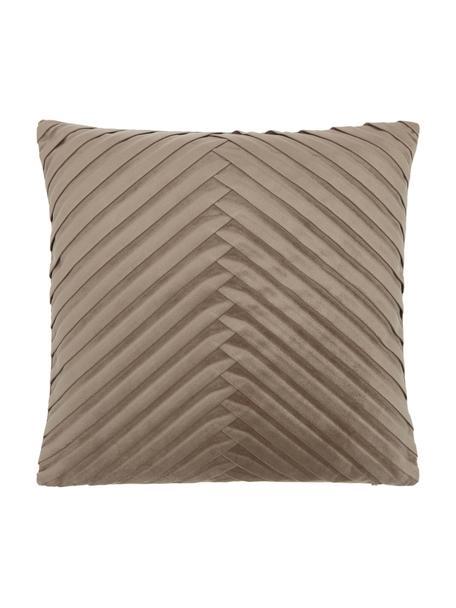 Fluwelen kussenhoes Lucie in taupe met structuur-oppervlak, 100% fluweel (polyester), Beige, 45 x 45 cm