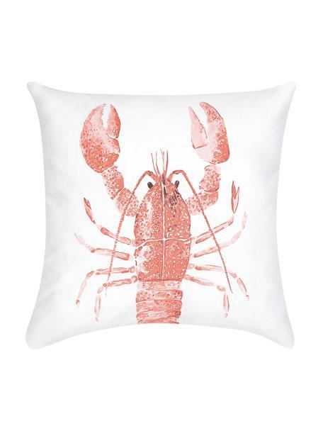 Kissenhülle Homard mit Print in Aquarelloptik, 100% Baumwolle, Rot, Weiß, 40 x 40 cm