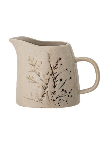 Brocca da latte fatta a mano con motivo erba Bea, Gres, Beige, Ø 8 x Alt. 9 cm