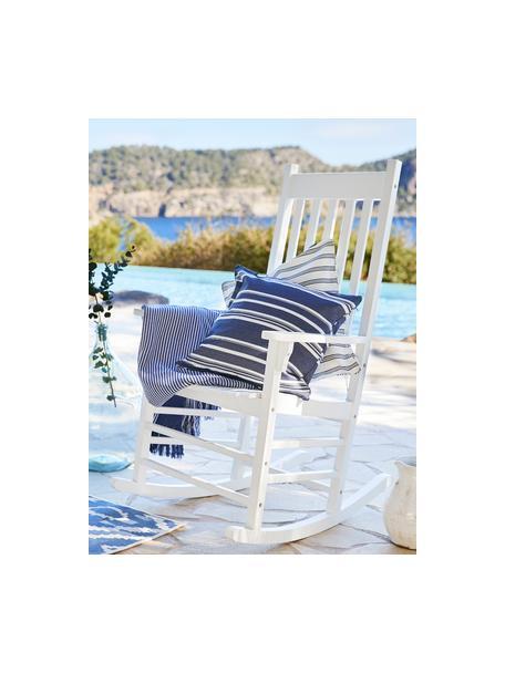 Sedia a dondolo da giardino in legno bianco Bay, Legno di acacia laccato, Bianco, Larg. 84 x Prof. 68 cm