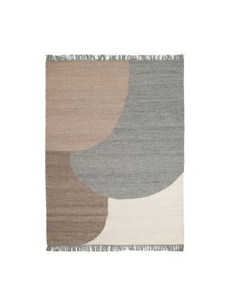 Handgeweven wollen vloerkleed Eik met geometrisch patroon, Franjes: 100% katoen Bij wollen vl, Grijs- en beigetinten, B 140 x L 200 cm (maat S)