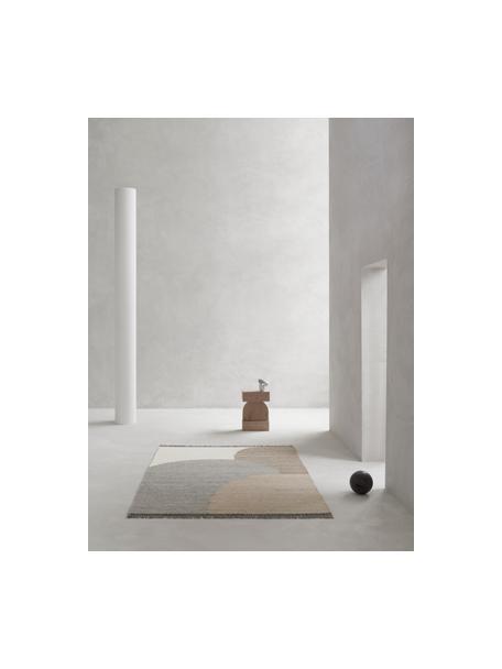 Handgewebter Wollteppich Eik mit geometrischem Muster, Fransen: 100% Baumwolle Bei Wollte, Grau- und Beigetöne, B 140 x L 200 cm (Grösse S)