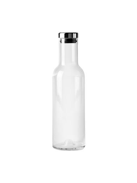 Glazen karaf Deluxe in transparant met zilverkleurige deksel, 1 L, Mondgeblazen glas, siliconen, Transparant, H 29 cm