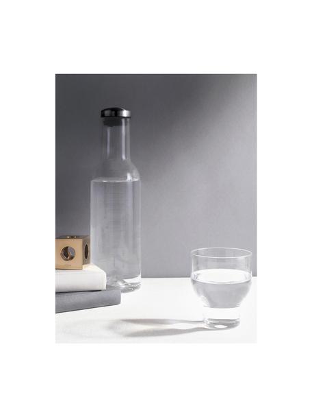 Glaskaraffe Deluxe in Transparent mit silbernem Deckel, 1 L, Glas mundgeblasen, Silikon, Transparent, H 29 cm