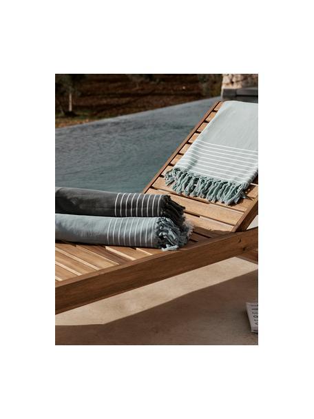 Hamamdoek Freddy met franjes en badstof aan de achterkant, Saliegroen, 100 x 180 cm