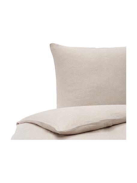 Leinen-Bettwäsche Nature in Beige, Halbleinen (52% Leinen, 48% Baumwolle)  Fadendichte 108 TC, Standard Qualität  Halbleinen hat von Natur aus einen kernigen Griff und einen natürlichen Knitterlook, der durch den Stonewash-Effekt verstärkt wird. Es absorbiert bis zu 35% Luftfeuchtigkeit, trocknet sehr schnell und wirkt in Sommernächten angenehm kühlend. Die hohe Reißfestigkeit macht Halbleinen scheuerfest und strapazierfähig, Beige, 135 x 200 cm + 1 Kissen 80 x 80 cm
