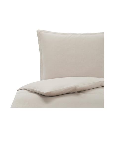 Pościel lniana z efektem sprania Nature, Beżowy, 135 x 200 cm + 1 poduszka 80 x 80 cm