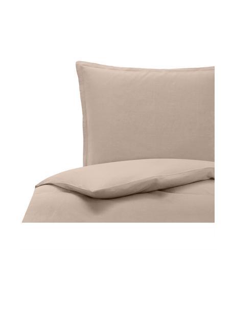 Gewaschene Leinen-Bettwäsche Nature in Beige, Halbleinen (52% Leinen, 48% Baumwolle)  Fadendichte 108 TC, Standard Qualität  Halbleinen hat von Natur aus einen kernigen Griff und einen natürlichen Knitterlook, der durch den Stonewash-Effekt verstärkt wird. Es absorbiert bis zu 35% Luftfeuchtigkeit, trocknet sehr schnell und wirkt in Sommernächten angenehm kühlend. Die hohe Reißfestigkeit macht Halbleinen scheuerfest und strapazierfähig, Beige, 135 x 200 cm + 1 Kissen 80 x 80 cm