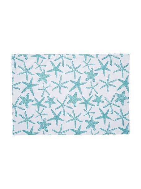 Waterafstotende kunststoffen placemats Starbone, 2 stuks, Polyester, Wit, blauw, 33 x 48 cm