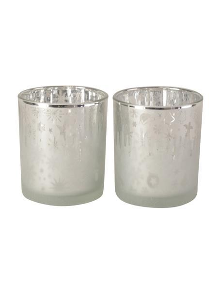 Teelichthalter-Set Winter, 2-tlg., Glas, Silberfarben, Ø 7 x H 8 cm