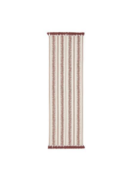 Handgewebter Baumwollläufer Rita in Beige/Terrakotta, Beige, Terrakotta, 80 x 250 cm