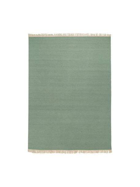 Alfombra kilim artesanal con flecos Rainbow, Flecos: 100%algodón Las alfombra, Verde pistacho, An 140 x L 200 cm(Tamaño S)
