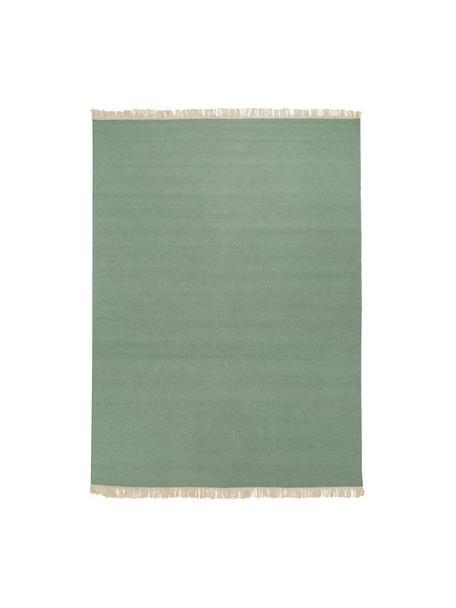 Handgewebter Kelimteppich Rainbow aus Wolle in Grün mit Fransen, Fransen: 100% Baumwolle Bei Wollte, Pistaziengrün, B 140 x L 200 cm (Größe S)
