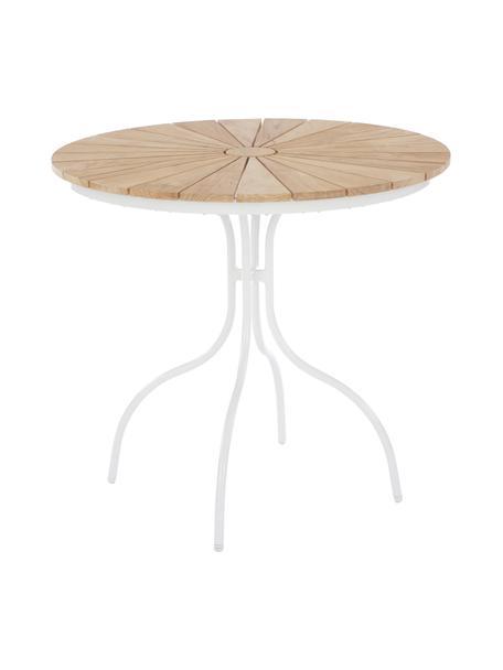 Tavolo da giardino con piano in teak Hard & Ellen, Piano d'appoggio: legno di teak sabbiato Po, Bianco, teak, Ø 80 x Alt. 72 cm