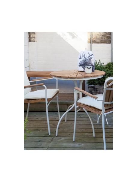Ronde tuintafel Hard & Ellen met teakhouten tafelblad, Tafelblad: gepolijst teakhout, Frame: gepoedercoat aluminium, Wit, teakhoutkleurig, Ø 80 x H 72 cm