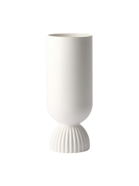 Vaso Flower, Gres, Bianco opaco, Ø 10 x Alt. 25 cm