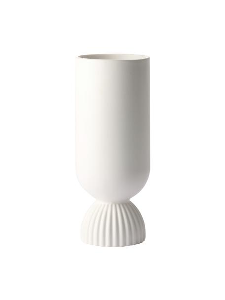 Vaso tondo decorativo bianco Flower, Gres, Bianco opaco, Ø 10 x Alt. 25 cm
