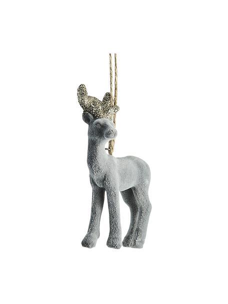 Adornos navideños irrompibles Deer, 2uds., Adornos: plástico, Gris, An 6 x Al 9 cm