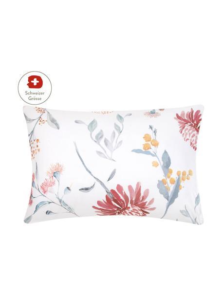 Baumwollsatin-Kissenbezug Evie mit Aquarell Blumen-Muster, 50 x 70 cm, Webart: Satin Fadendichte 210 TC,, Floraler Druck, Weiss, 50 x 70 cm
