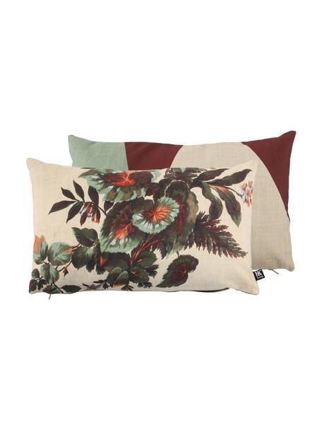 Wendekissen Kyoto mit Blätter-Motiv, mit Inlett, 100% Polyester, Beige, Grüntöne, Orange, 35 x 60 cm