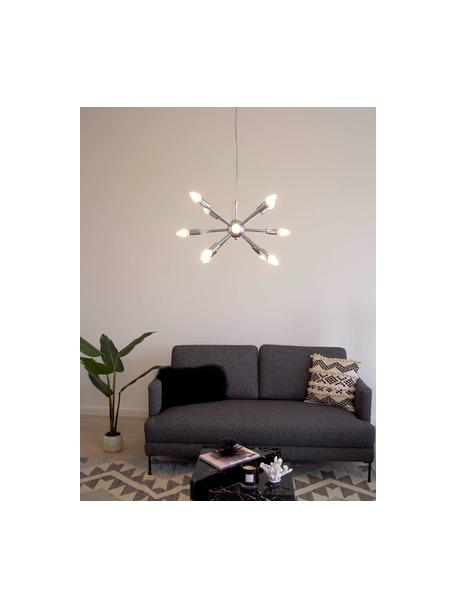 Hanglamp Spike in chroomkleur, Baldakijn: verchroomd metaal, Lampenkap: verchroomd metaal, Chroomkleurig, Ø 50 cm