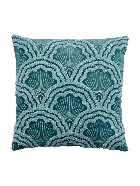 Haftowana poszewka na poduszkę z aksamitu Chelsey, 100% aksamit bawełniany, Petrol, S 45 x D 45 cm