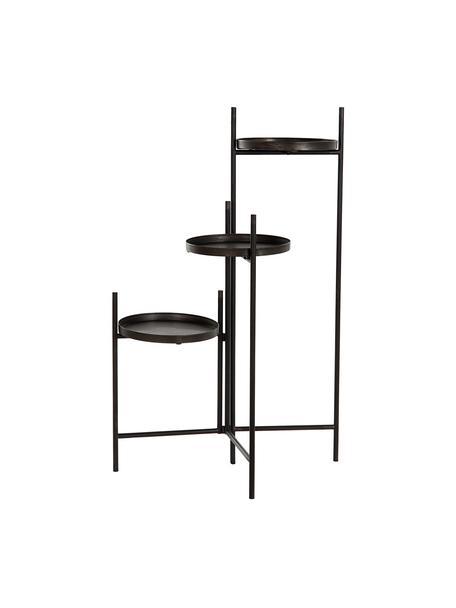 Tavolino in metallo Tom, Metallo, nero verniciato, Nero, Larg. 60 x Alt. 111 cm