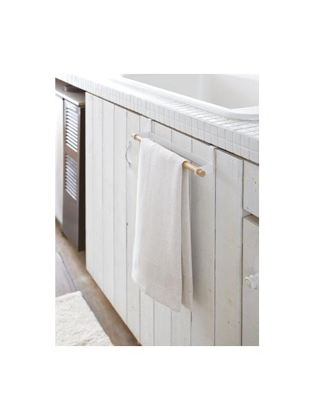 Handdoekenhouder Tosca, Houder: gecoat staal, Stang: hout, Wit, houtkleurig, 33 x 6 cm