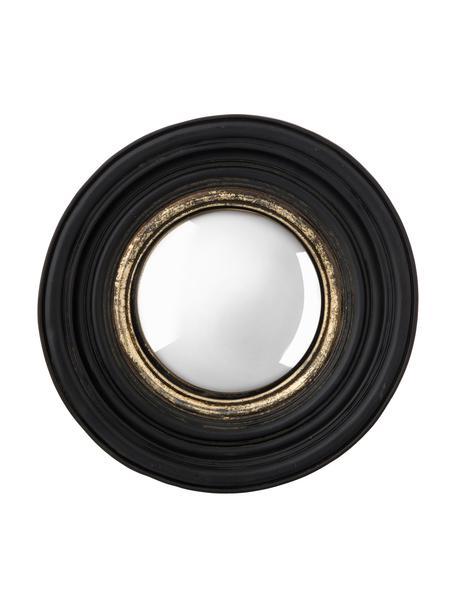 Runder Wandspiegel Resi mit schwarz/goldenem Kunststoffrahmen, Rahmen: Polyresin, Spiegelfläche: Spiegelglas, Schwarz, Goldfarben, Ø 26 x T 4 cm