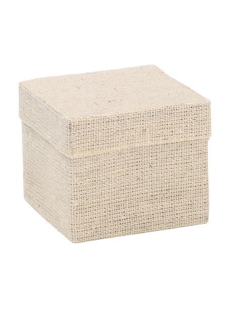 Geschenkdozen Square, 6 stuks, Katoen, Beige, 5 x 5 cm