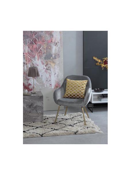 Fluwelen fauteuil Jana in grijs, Bekleding: fluweel (polyester), Poten: gepoedercoat metaal, Fluweel grijs, B 72 x D 68 cm