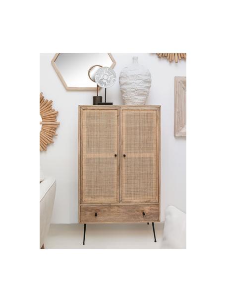 Chiffonnier de madera de mango Larry, Estructura: madera de mango, Patas: metal pintado, Marrón, negro, An 80 x Al 137 cm
