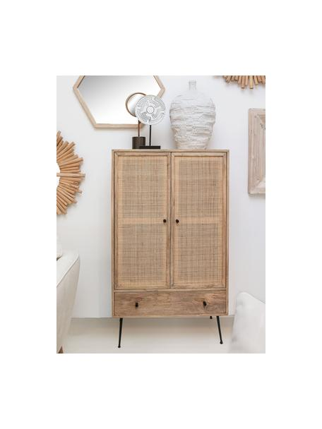 Mangohouten dressoir Larry met vlechtwerk, Frame: mangohout, Poten: gelakt metaal, Bruin, zwart, 80 x 137 cm
