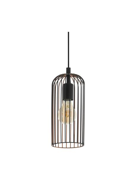 Lámpara de techo pequeña Roccamena, Pantalla: acero pintado, Anclaje: acero pintado, Cable: plástico, Negro, Ø 13 x Al 30 cm
