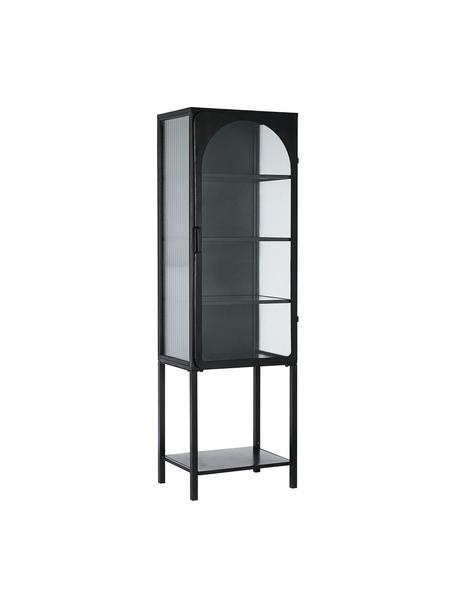 Vitrinekast Nerissa met gegroefd glas in zwart, Frame: metaal, epoxy en gepoeder, Zwart, transparant, 50 x 160 cm