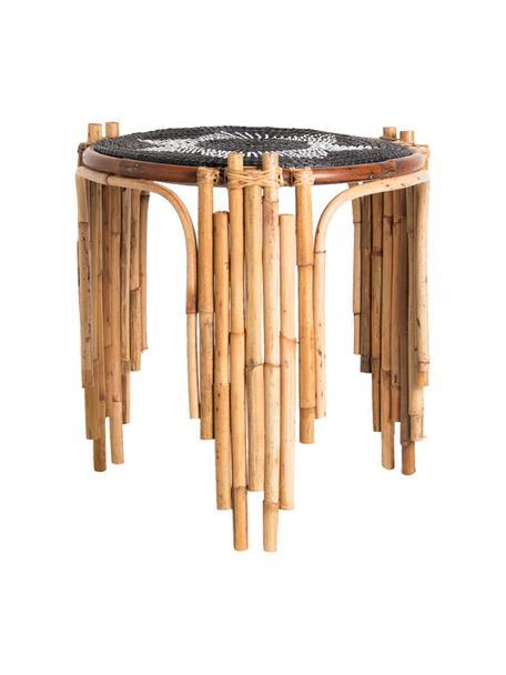 Stolik pomocniczy z rattanu Odile, Blat: trawa morska, Nogi: rattan, Beżowy, czarny, Ø 46 x W 50 cm