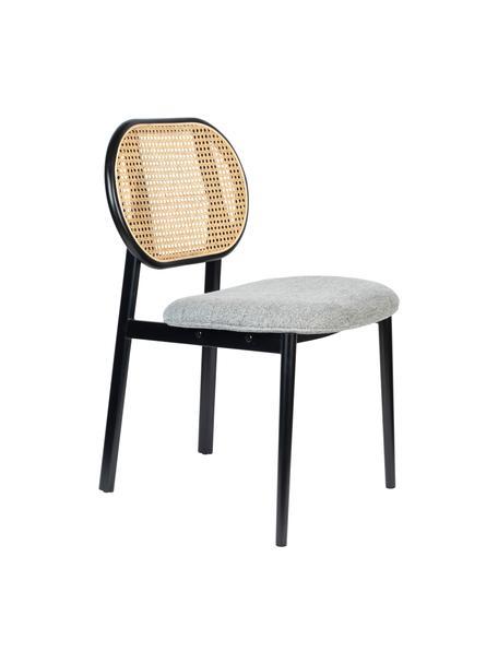 Krzesło tapicerowane z plecionką wiedeńską Spike, Tapicerka: 100% poliester 100 000 cy, Nogi: stal malowana proszkowo Z, Szary, czarny, beżowy, S 46 x G 58 cm