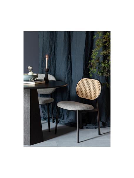 Gestoffeerde stoel Spike met Weens vlechtwerk, Bekleding: 100% polyester, Frame: massief berkenhout, gelak, Poten: gepoedercoat staal, Grijs, zwart, beige, 46 x 58 cm