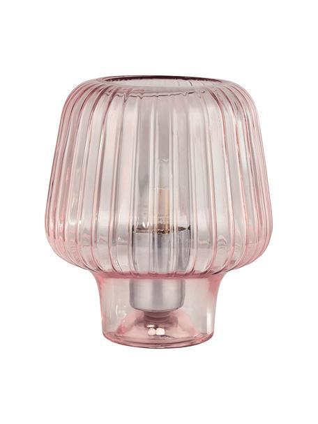Lámpara de mesa pequeña de vidrio Stacy, Pantalla: vidrio, Cable: plástico, Rosa, Ø 18 x Al 21 cm