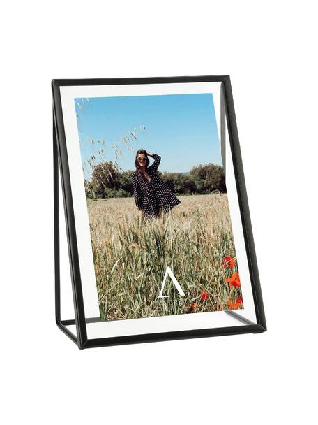 Portafoto da tavolo Memi, Metallo rivestito, Nero, 13 x 18 cm
